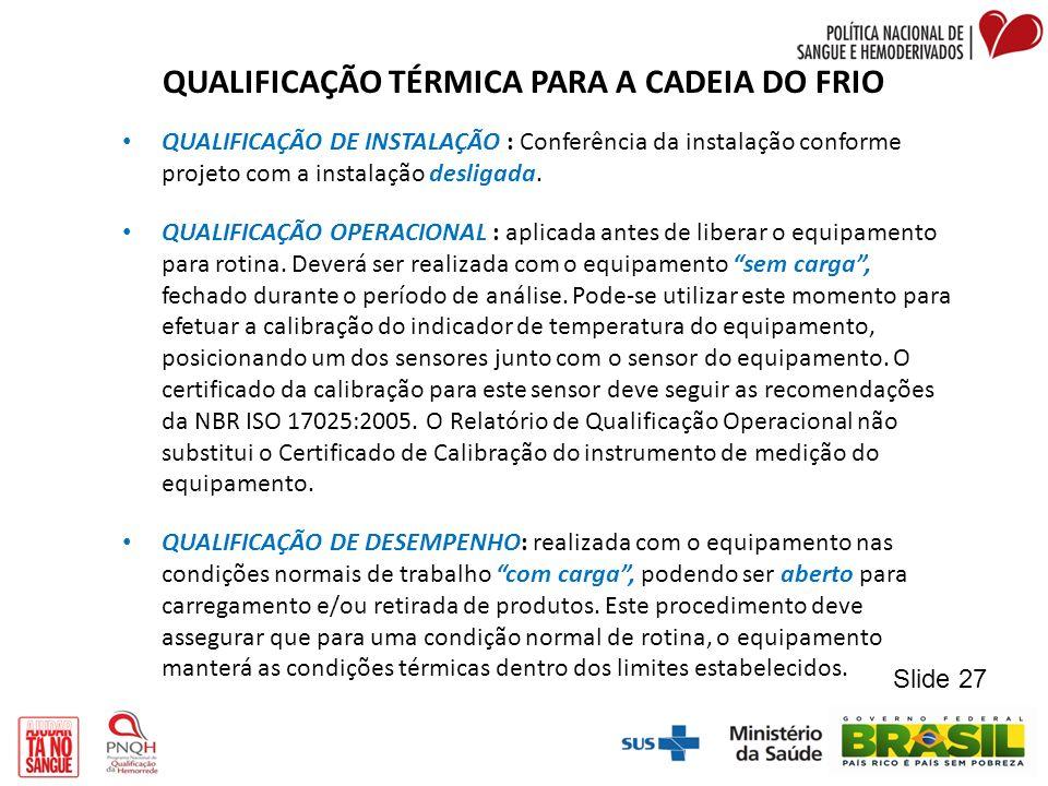 QUALIFICAÇÃO TÉRMICA PARA A CADEIA DO FRIO QUALIFICAÇÃO DE INSTALAÇÃO : Conferência da instalação conforme projeto com a instalação desligada. QUALIFI