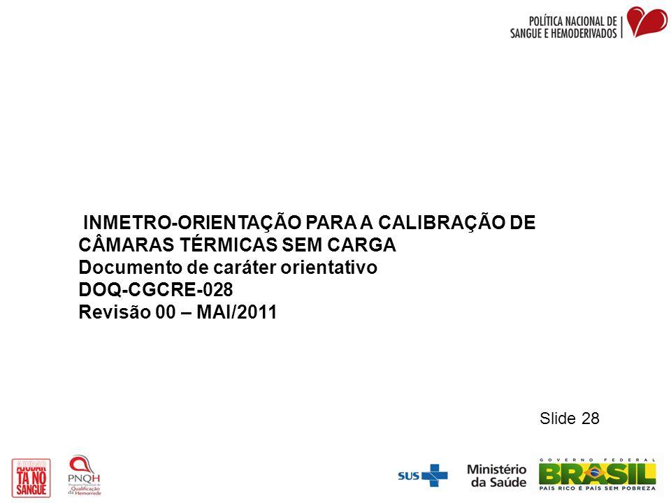 INMETRO-ORIENTAÇÃO PARA A CALIBRAÇÃO DE CÂMARAS TÉRMICAS SEM CARGA Documento de caráter orientativo DOQ-CGCRE-028 Revisão 00 – MAI/2011 Slide 28