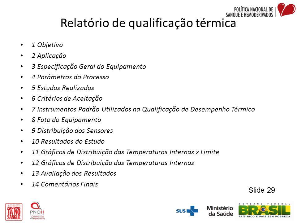 Relatório de qualificação térmica 1 Objetivo 2 Aplicação 3 Especificação Geral do Equipamento 4 Parâmetros do Processo 5 Estudos Realizados 6 Critério