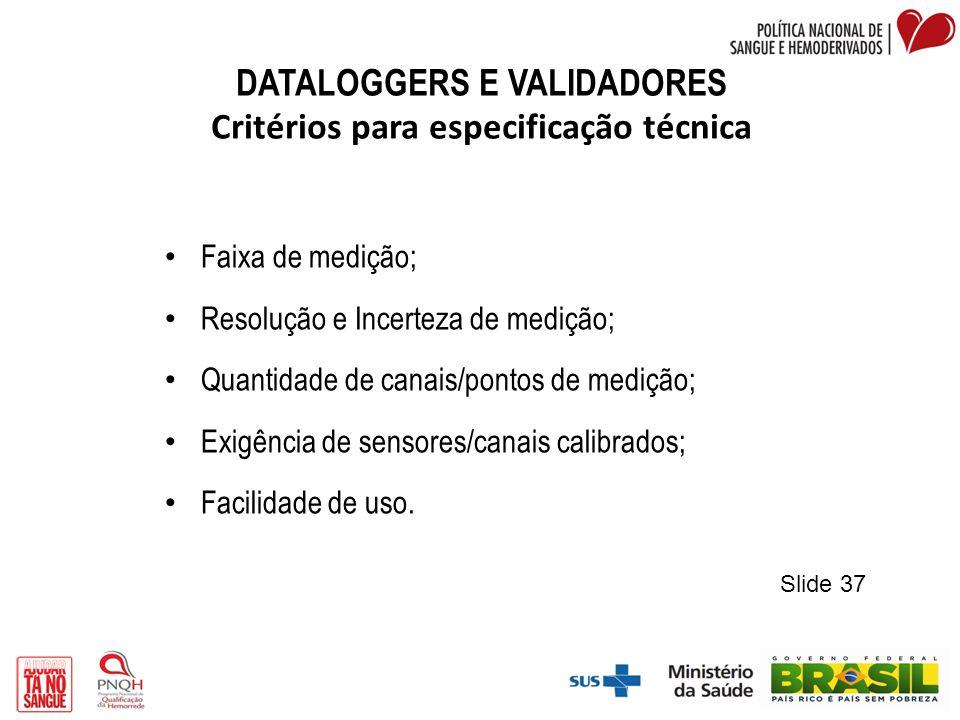 DATALOGGERS E VALIDADORES Critérios para especificação técnica Faixa de medição; Resolução e Incerteza de medição; Quantidade de canais/pontos de medi