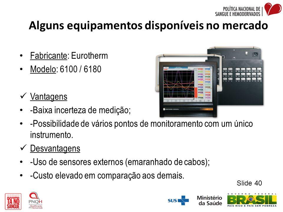 Alguns equipamentos disponíveis no mercado Fabricante: Eurotherm Modelo: 6100 / 6180 Vantagens -Baixa incerteza de medição; -Possibilidade de vários p