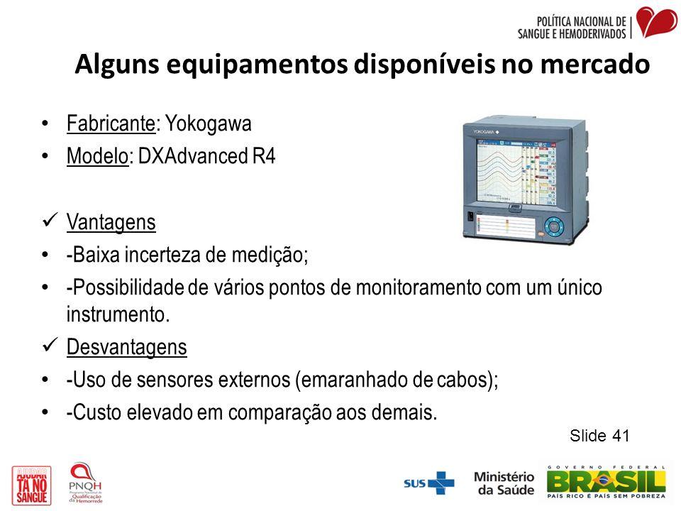 Alguns equipamentos disponíveis no mercado Fabricante: Yokogawa Modelo: DXAdvanced R4 Vantagens -Baixa incerteza de medição; -Possibilidade de vários