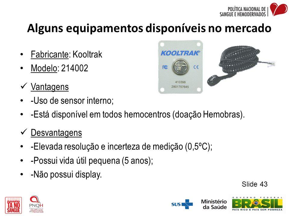 Alguns equipamentos disponíveis no mercado Fabricante: Kooltrak Modelo: 214002 Vantagens -Uso de sensor interno; -Está disponível em todos hemocentros