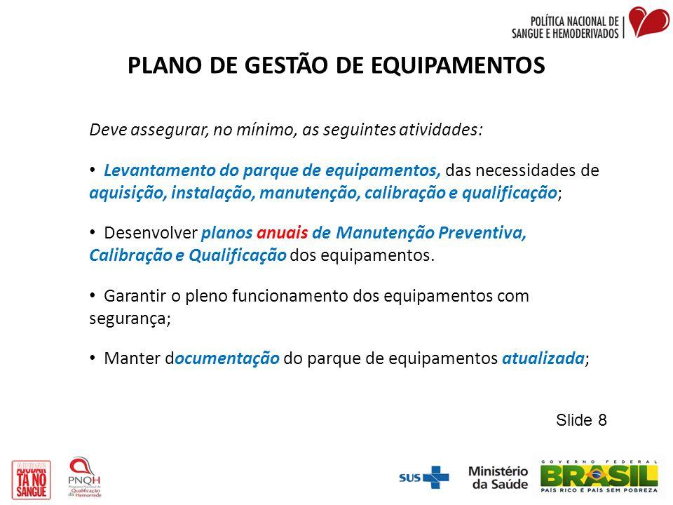 PLANO DE GESTÃO DE EQUIPAMENTOS Deve assegurar, no mínimo, as seguintes atividades: Levantamento do parque de equipamentos, das necessidades de aquisi
