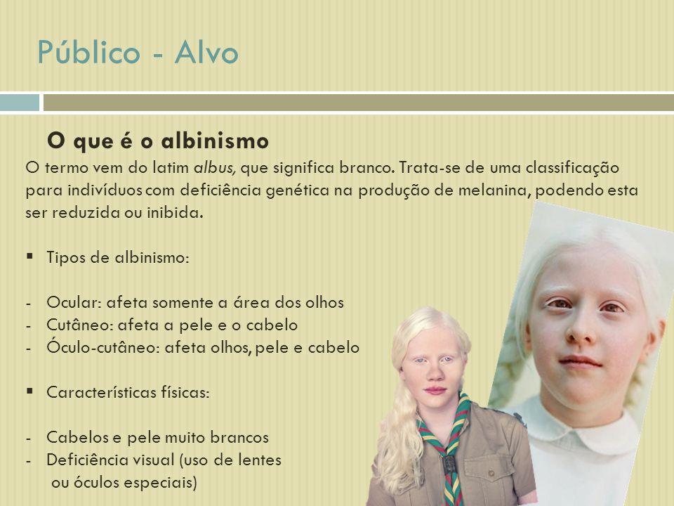 Público - Alvo O que é o albinismo O termo vem do latim albus, que significa branco. Trata-se de uma classificação para indivíduos com deficiência gen