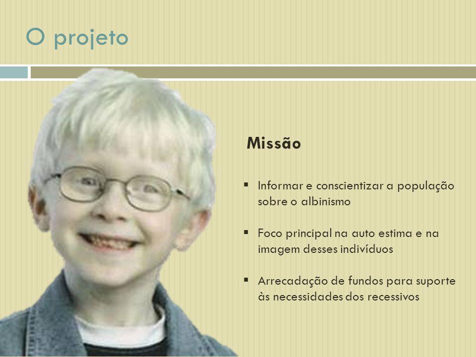 Missão Informar e conscientizar a população sobre o albinismo Foco principal na auto estima e na imagem desses indivíduos Arrecadação de fundos para suporte às necessidades dos recessivos