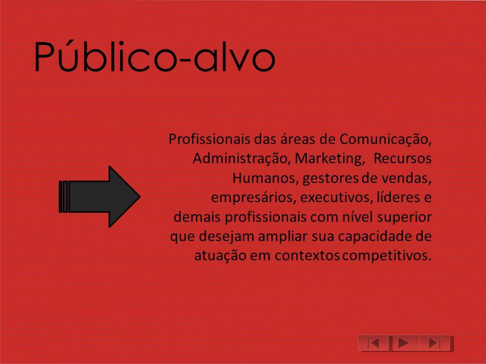 Público-alvo Profissionais das áreas de Comunicação, Administração, Marketing, Recursos Humanos, gestores de vendas, empresários, executivos, líderes