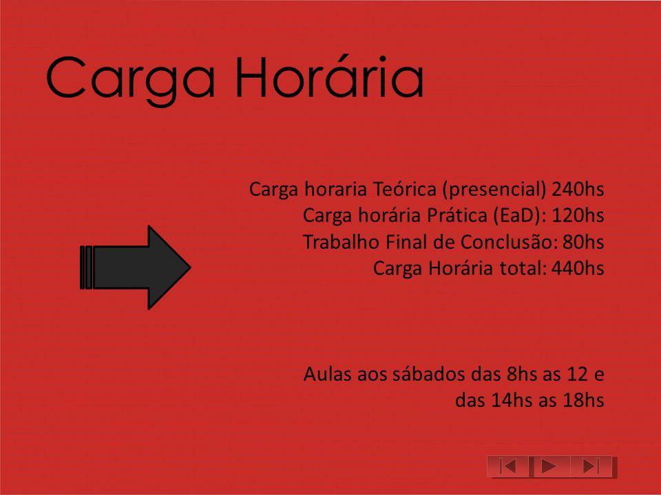 Carga Horária Carga horaria Teórica (presencial) 240hs Carga horária Prática (EaD): 120hs Trabalho Final de Conclusão: 80hs Carga Horária total: 440hs