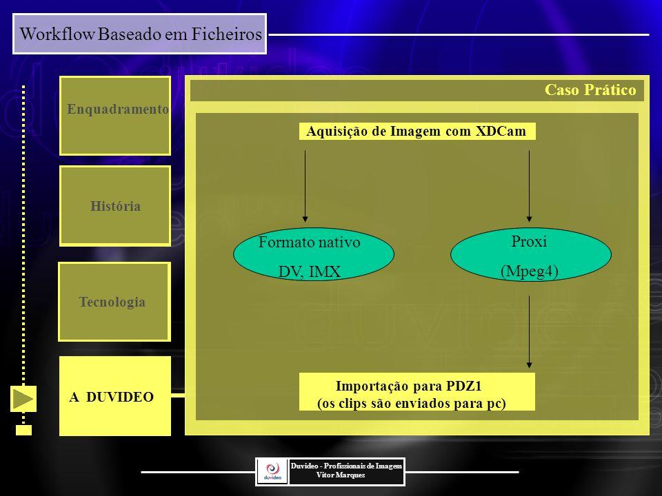 Workflow Baseado em Ficheiros Duvideo - Profissionais de Imagem Vitor Marques Enquadramento História Tecnologia Proxi (Mpeg4) Formato nativo DV, IMX Aquisição de Imagem com XDCam Importação para PDZ1 (os clips são enviados para pc) A DUVIDEO Caso Prático