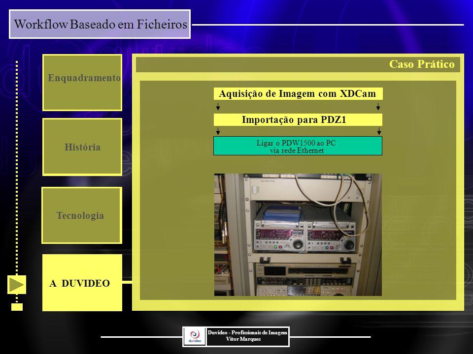 Workflow Baseado em Ficheiros Duvideo - Profissionais de Imagem Vitor Marques Enquadramento História Tecnologia Ligar o PDW1500 ao PC via rede Ethernet Aquisição de Imagem com XDCam Importação para PDZ1 A DUVIDEO Caso Prático