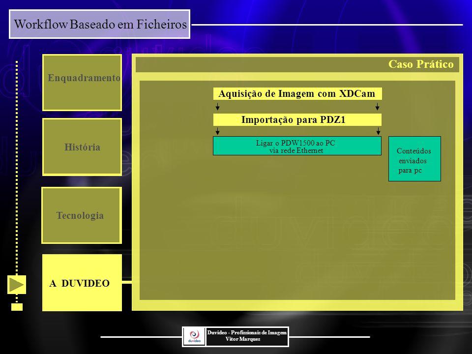 Workflow Baseado em Ficheiros Duvideo - Profissionais de Imagem Vitor Marques Enquadramento História Tecnologia Importação para PDZ1 Conteúdos enviados para pc Aquisição de Imagem com XDCam Ligar o PDW1500 ao PC via rede Ethernet A DUVIDEO Caso Prático