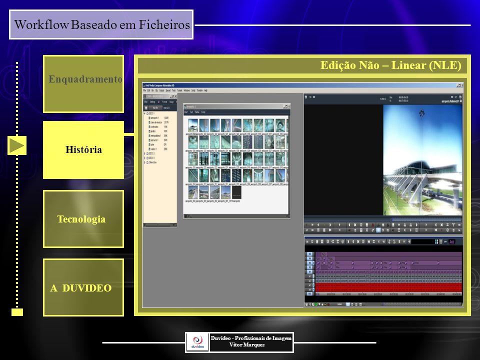 Workflow Baseado em Ficheiros Duvideo - Profissionais de Imagem Vitor Marques Enquadramento História Tecnologia VIDEO DIRECTAMENTE IMPORTADO PARA NLE A DUVIDEO Caso Prático Tempo/Qualidade