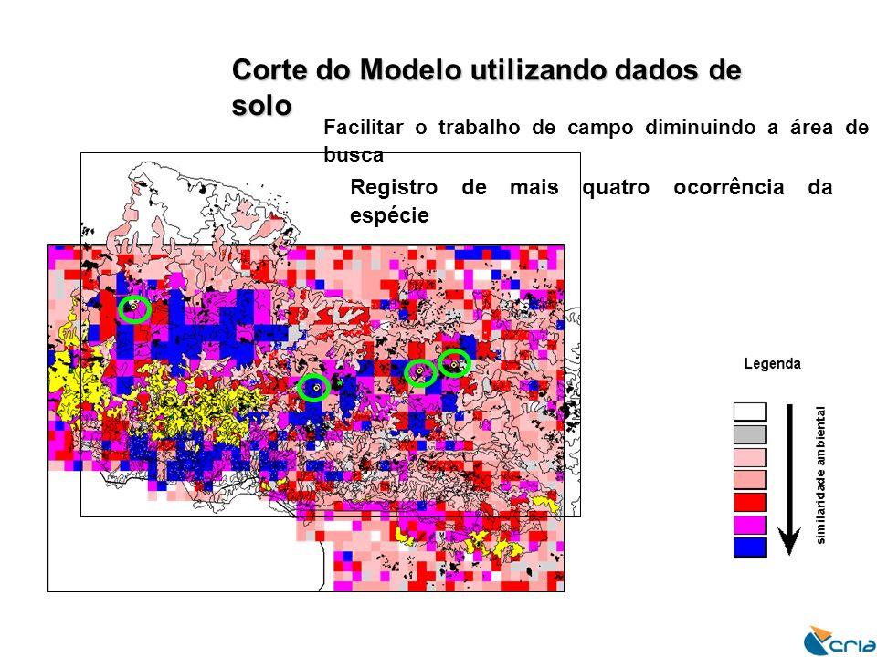 Corte do Modelo utilizando dados de solo Facilitar o trabalho de campo diminuindo a área de busca Registro de mais quatro ocorrência da espécie