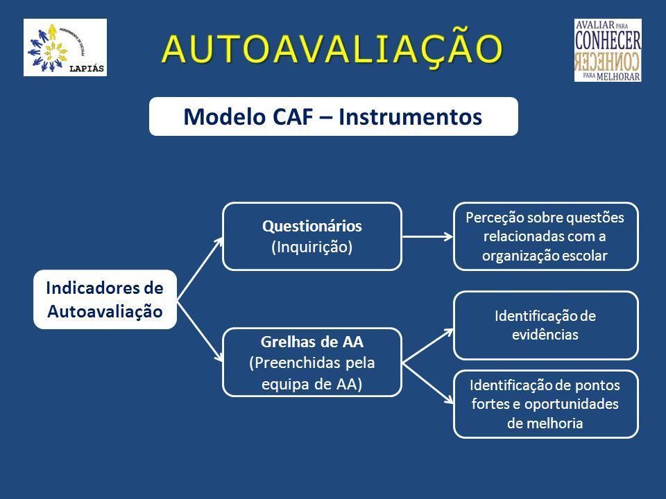 Modelo CAF – Instrumentos Indicadores de Autoavaliação Questionários (Inquirição) Perceção sobre questões relacionadas com a organização escolar Grelh