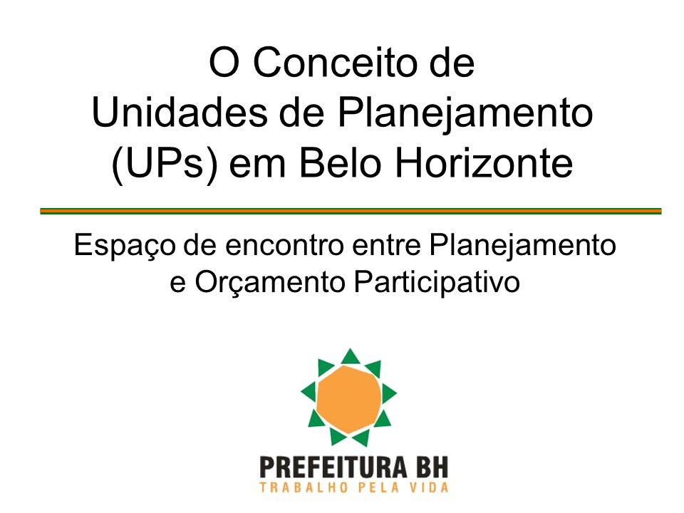O Conceito de Unidades de Planejamento (UPs) em Belo Horizonte Espaço de encontro entre Planejamento e Orçamento Participativo