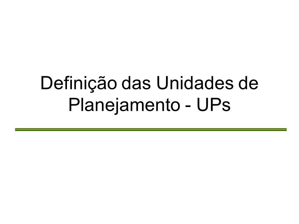 Definição das Unidades de Planejamento - UPs