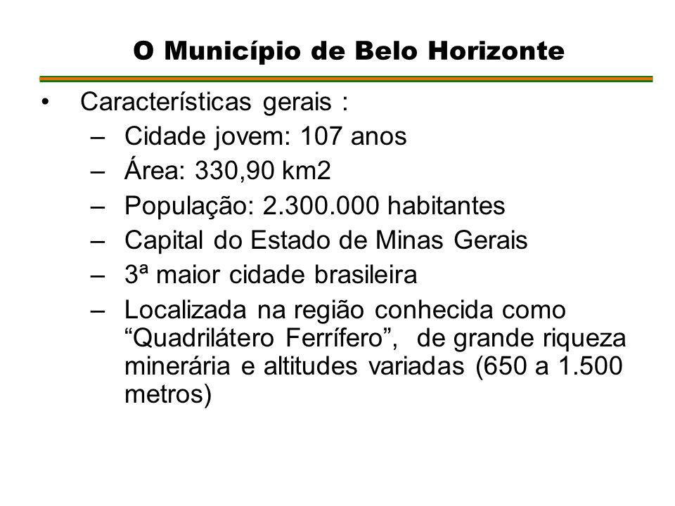 Características gerais : –Cidade jovem: 107 anos –Área: 330,90 km2 –População: 2.300.000 habitantes –Capital do Estado de Minas Gerais –3ª maior cidade brasileira –Localizada na região conhecida como Quadrilátero Ferrífero, de grande riqueza minerária e altitudes variadas (650 a 1.500 metros) O Município de Belo Horizonte