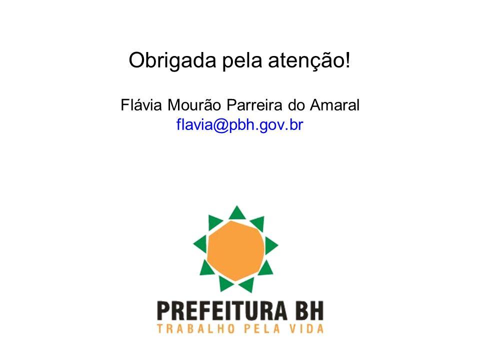 Obrigada pela atenção! Flávia Mourão Parreira do Amaral flavia@pbh.gov.br