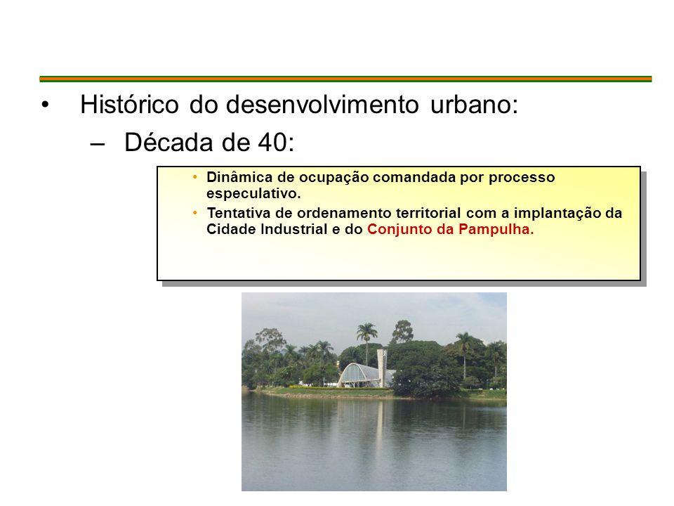 Histórico do desenvolvimento urbano: –Década de 40: Dinâmica de ocupação comandada por processo especulativo.
