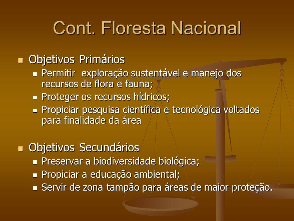 Cont. Floresta Nacional Objetivos Primários Objetivos Primários Permitir exploração sustentável e manejo dos recursos de flora e fauna; Permitir explo