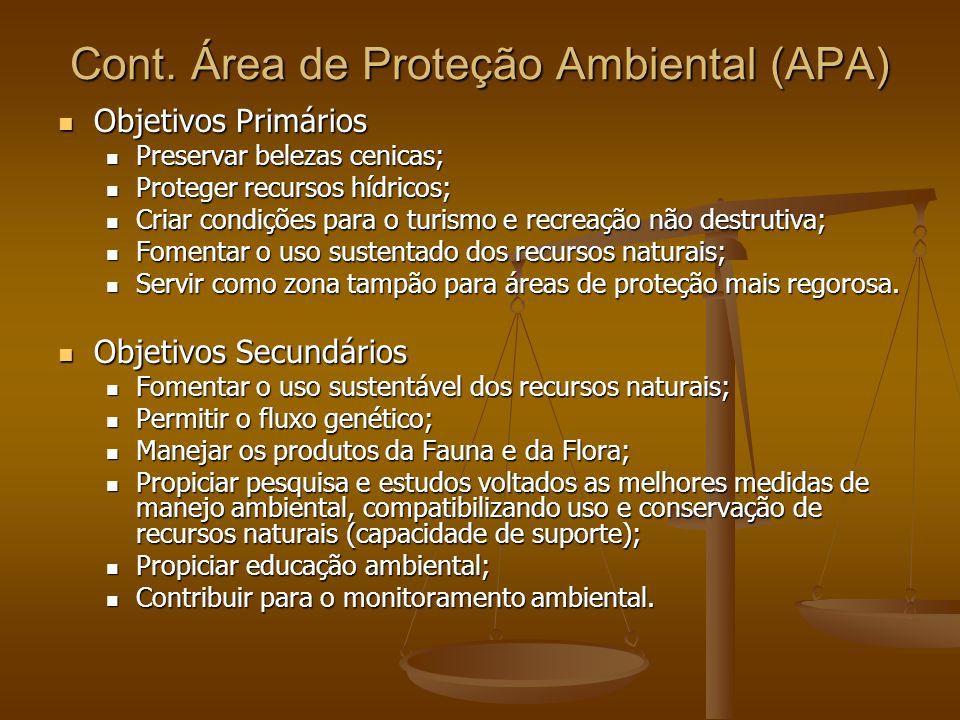 Cont. Área de Proteção Ambiental (APA) Objetivos Primários Objetivos Primários Preservar belezas cenicas; Preservar belezas cenicas; Proteger recursos