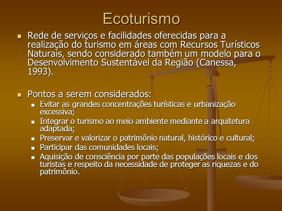 Ecoturismo Rede de serviços e facilidades oferecidas para a realização do turismo em áreas com Recursos Turísticos Naturais, sendo considerado também