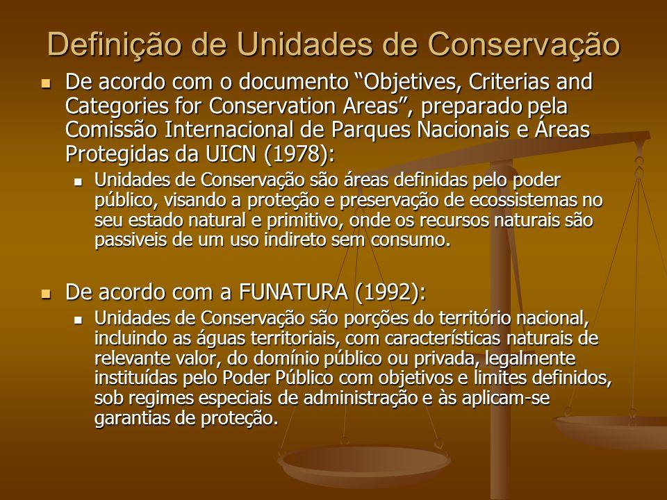 Definição de Unidades de Conservação De acordo com o documento Objetives, Criterias and Categories for Conservation Areas, preparado pela Comissão Int
