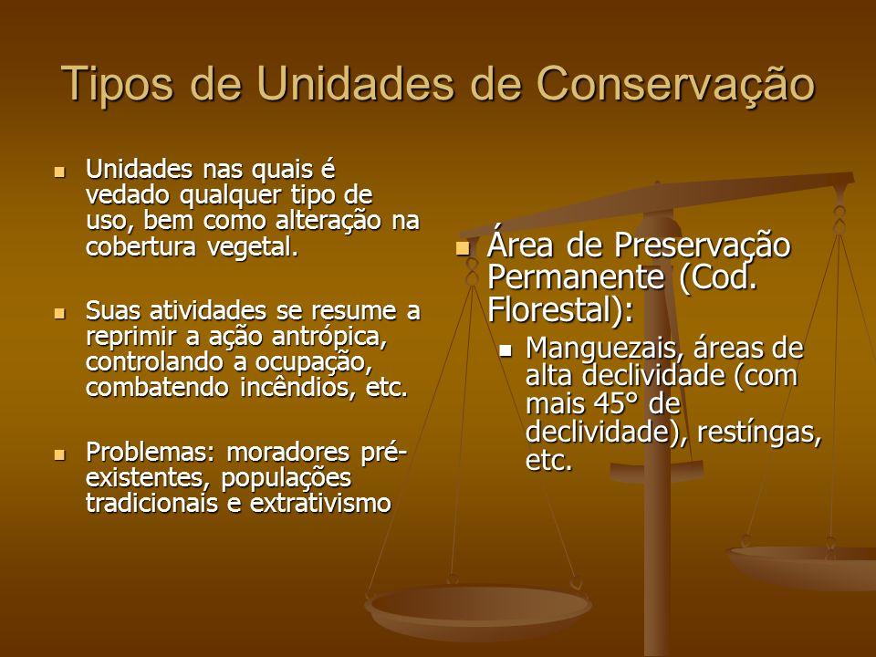 Tipos de Unidades de Conservação Unidades nas quais é vedado qualquer tipo de uso, bem como alteração na cobertura vegetal. Unidades nas quais é vedad