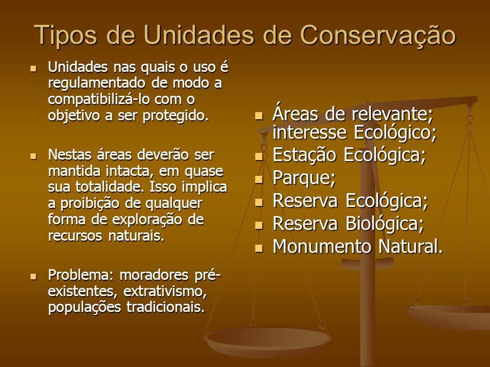Tipos de Unidades de Conservação Unidades nas quais é permitida a ocupação em todo o seu território, mas o uso do solo e as atividades econômicas são selecionados de modo a conservar ou melhorar as condições ecológicas locais.