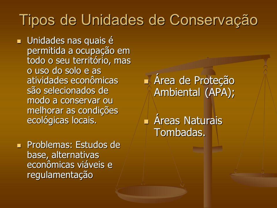 Tipos de Unidades de Conservação Unidades nas quais é permitida a ocupação em todo o seu território, mas o uso do solo e as atividades econômicas são