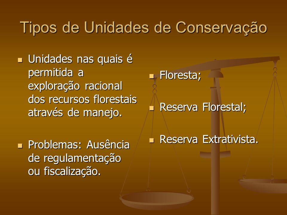 Tipos de Unidades de Conservação Unidades nas quais é permitida a exploração racional dos recursos florestais através de manejo. Unidades nas quais é