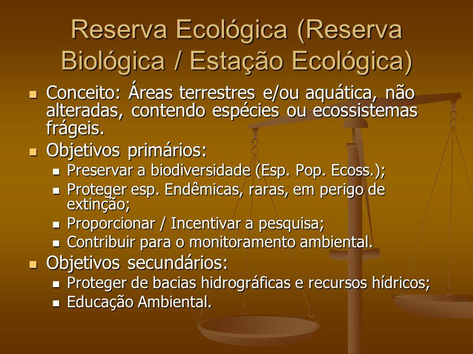 Reserva Ecológica (Reserva Biológica / Estação Ecológica) Conceito: Áreas terrestres e/ou aquática, não alteradas, contendo espécies ou ecossistemas f