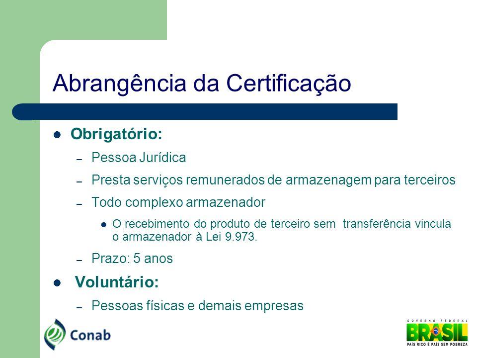 Abrangência da Certificação Obrigatório: – Pessoa Jurídica – Presta serviços remunerados de armazenagem para terceiros – Todo complexo armazenador O r