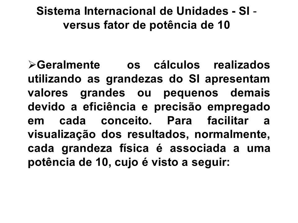 Sistema Internacional de Unidades - SI - versus fator de potência de 10 Geralmente os cálculos realizados utilizando as grandezas do SI apresentam val