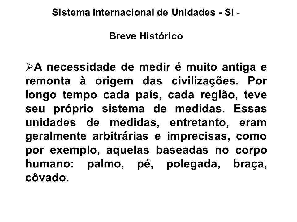 Sistema Internacional de Unidades - SI - Breve Histórico A necessidade de medir é muito antiga e remonta à origem das civilizações. Por longo tempo ca