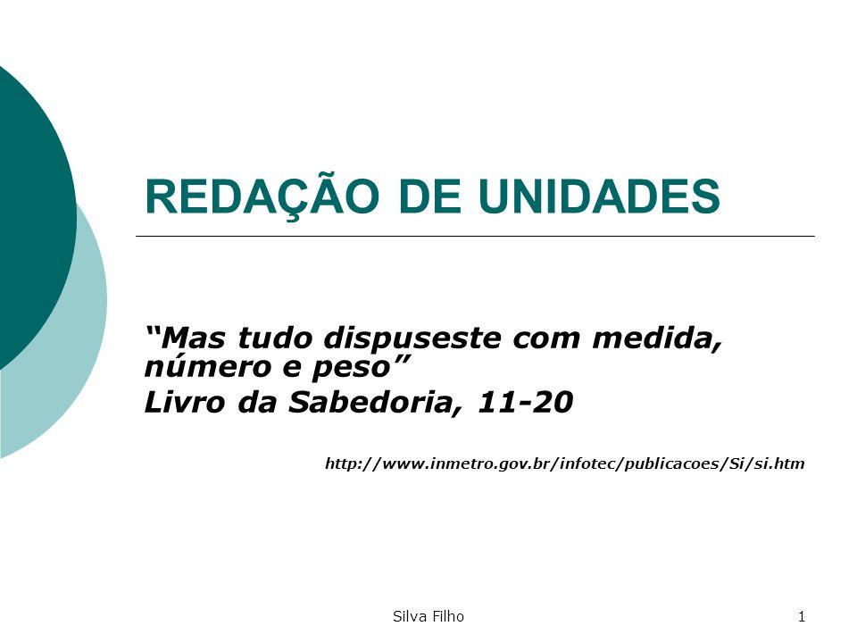 Silva Filho1 REDAÇÃO DE UNIDADES Mas tudo dispuseste com medida, número e peso Livro da Sabedoria, 11-20 http://www.inmetro.gov.br/infotec/publicacoes