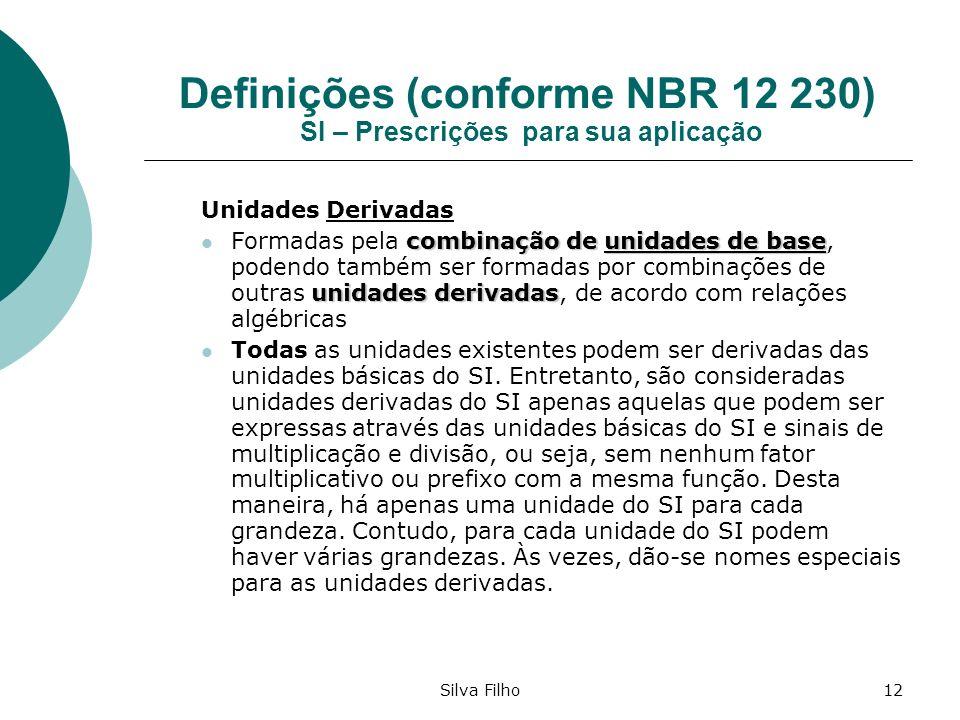 Silva Filho12 Definições (conforme NBR 12 230) SI – Prescrições para sua aplicação Unidades Derivadas combinação de unidades de base unidades derivada
