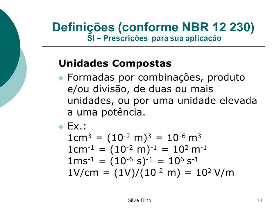 Silva Filho14 Definições (conforme NBR 12 230) SI – Prescrições para sua aplicação Unidades Compostas Formadas por combinações, produto e/ou divisão,
