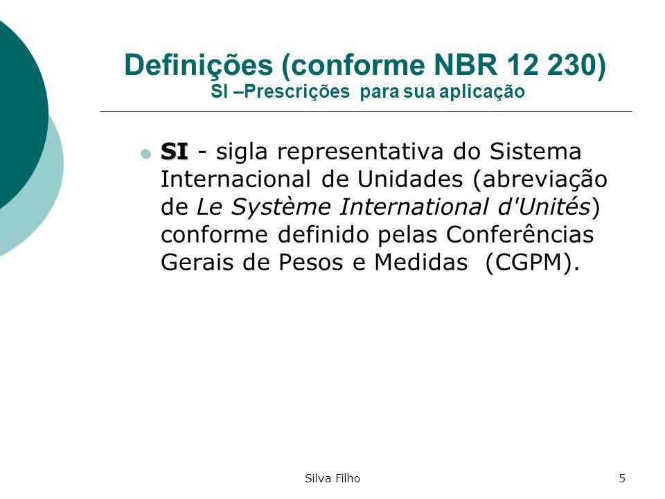 Silva Filho5 Definições (conforme NBR 12 230) SI –Prescrições para sua aplicação SI SI - sigla representativa do Sistema Internacional de Unidades (ab