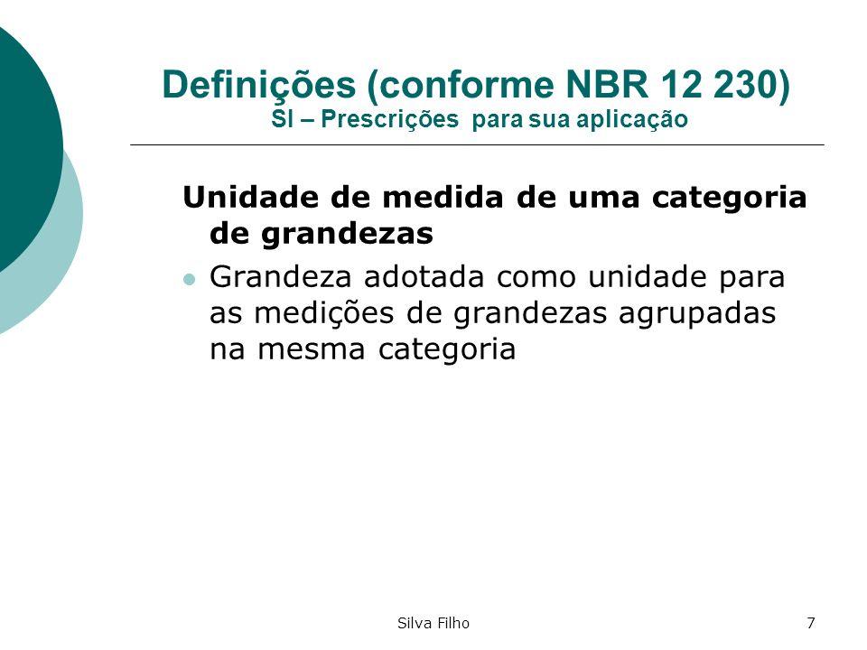 Silva Filho7 Definições (conforme NBR 12 230) SI – Prescrições para sua aplicação Unidade de medida de uma categoria de grandezas Grandeza adotada com