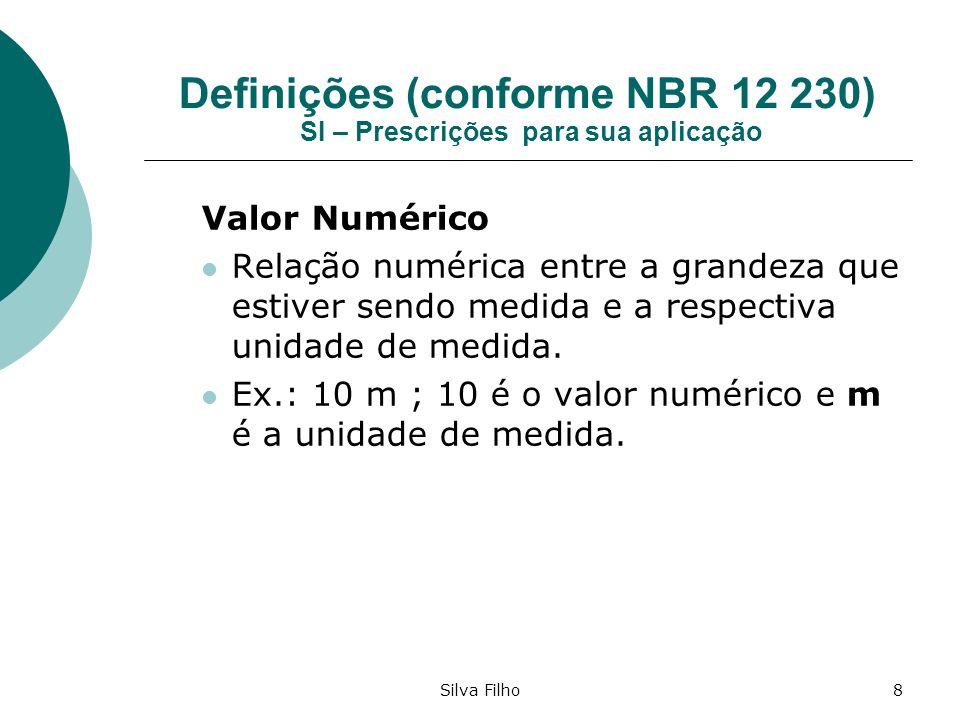 Silva Filho8 Definições (conforme NBR 12 230) SI – Prescrições para sua aplicação Valor Numérico Relação numérica entre a grandeza que estiver sendo m