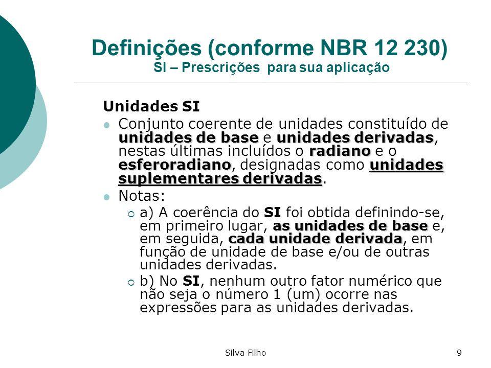 Silva Filho9 Definições (conforme NBR 12 230) SI – Prescrições para sua aplicação Unidades SI unidades de baseunidades derivadas radiano esferoradiano