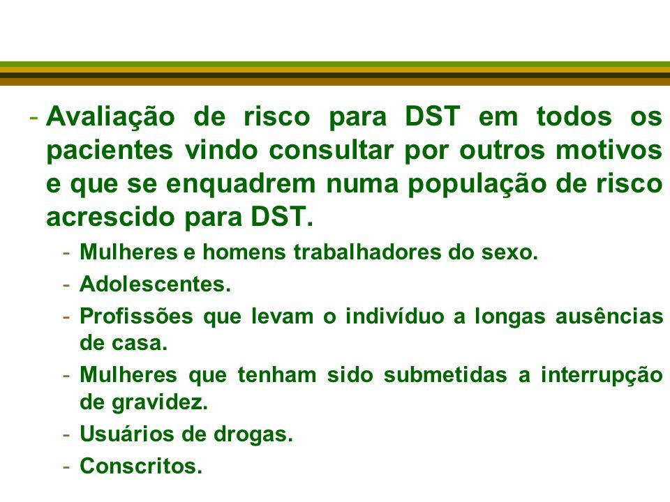 -Avaliação de risco para DST em todos os pacientes vindo consultar por outros motivos e que se enquadrem numa população de risco acrescido para DST. -