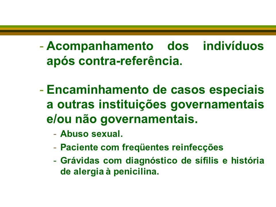 -Acompanhamento dos indivíduos após contra-referência. -Encaminhamento de casos especiais a outras instituições governamentais e/ou não governamentais
