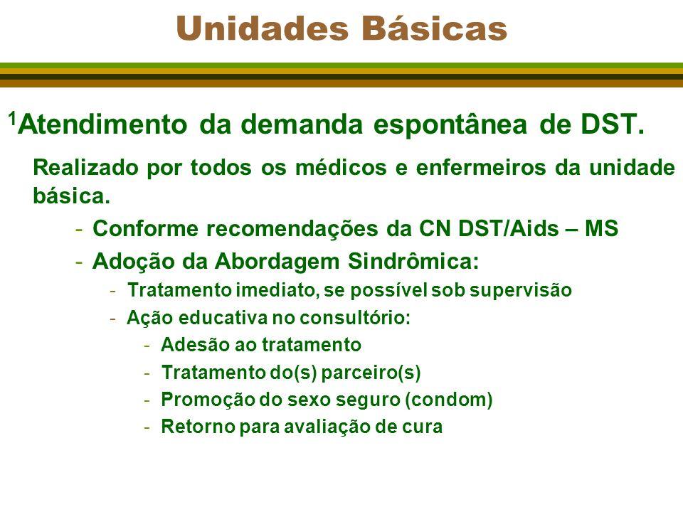 Unidades Básicas 1 Atendimento da demanda espontânea de DST. Realizado por todos os médicos e enfermeiros da unidade básica. -Conforme recomendações d