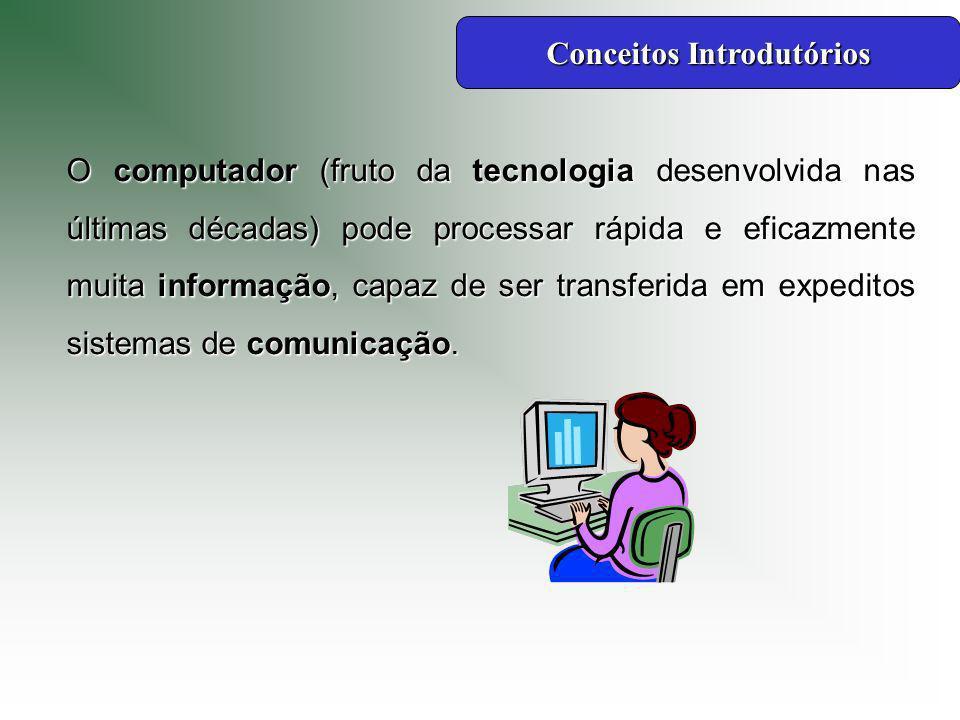 O computador (fruto da tecnologia desenvolvida nas últimas décadas) pode processar rápida e eficazmente muita informação, capaz de ser transferida em expeditos sistemas de comunicação.