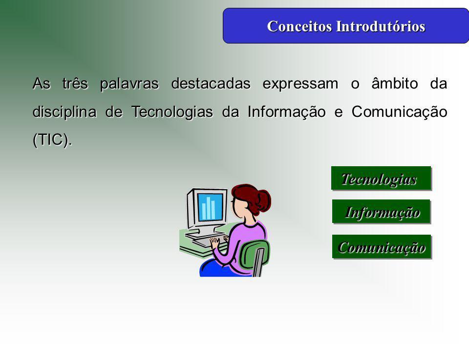 As três palavras destacadas expressam o âmbito da disciplina de Tecnologias da Informação e Comunicação (TIC).