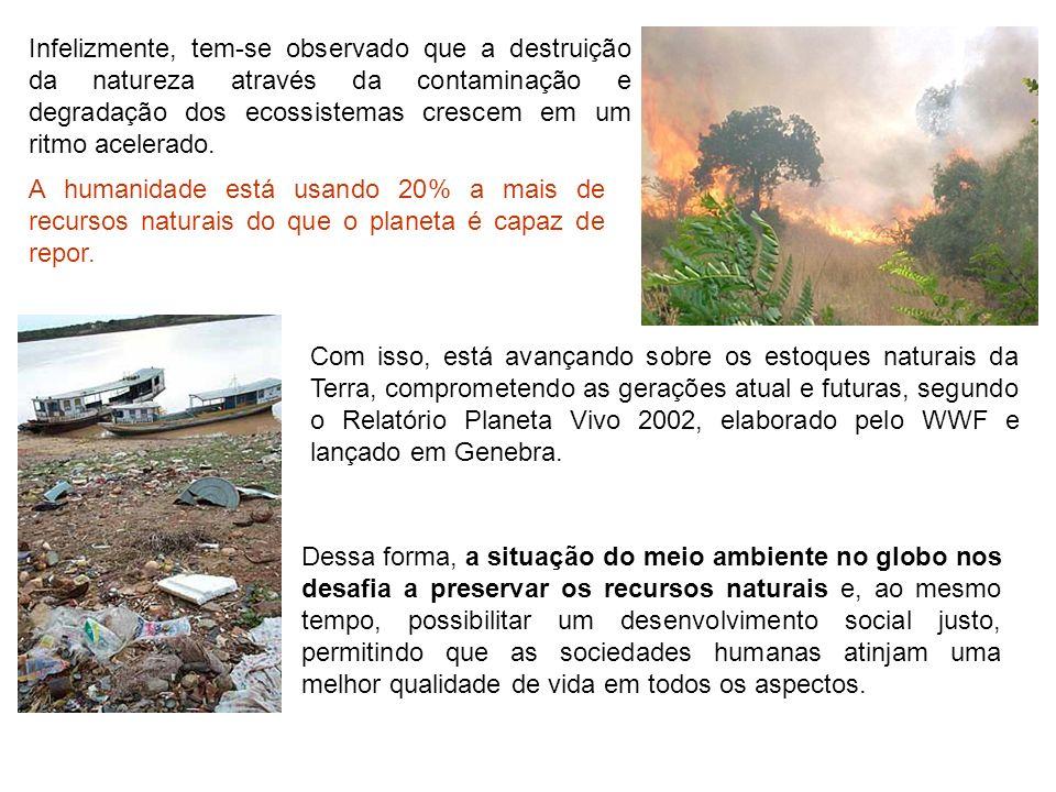 Infelizmente, tem-se observado que a destruição da natureza através da contaminação e degradação dos ecossistemas crescem em um ritmo acelerado. A hum