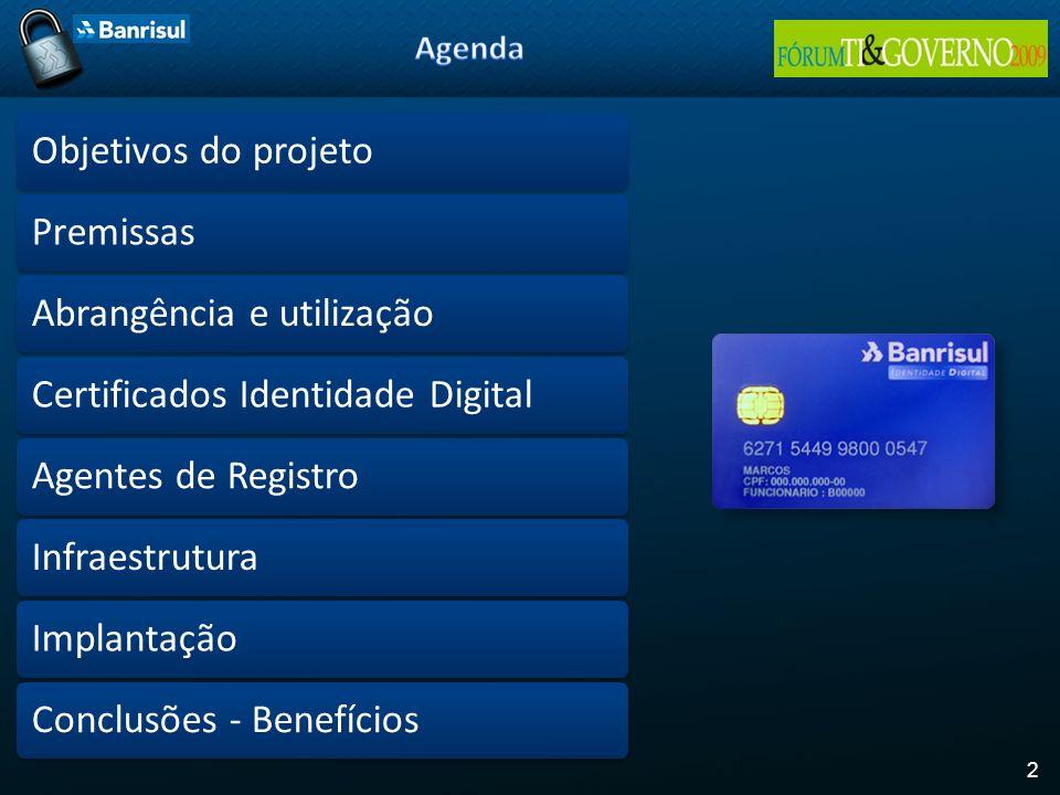 2 Objetivos do projetoPremissasAbrangência e utilizaçãoCertificados Identidade DigitalAgentes de RegistroInfraestruturaImplantaçãoConclusões - Benefíc