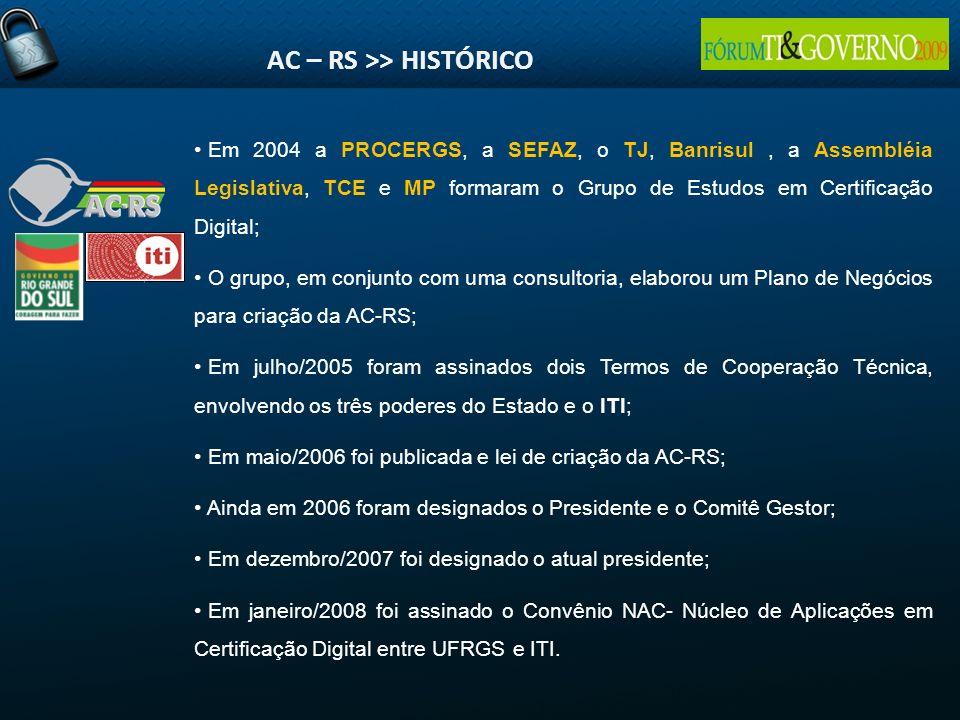Em 2004 a PROCERGS, a SEFAZ, o TJ, Banrisul, a Assembléia Legislativa, TCE e MP formaram o Grupo de Estudos em Certificação Digital; O grupo, em conju